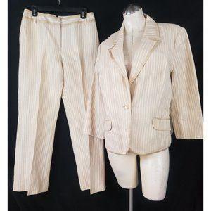 Emma James 16 10 Tan White Linen Pant Suit